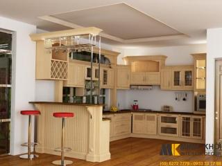 Tủ Bếp Gỗ Sồi Vân Đẹp TB2218 Chử U Có Quầy Bar