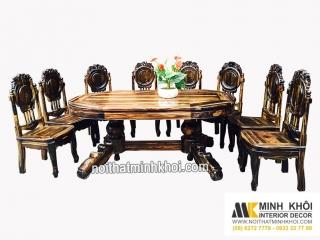 Bộ Bàn ăn gỗ mun ovanl 8 ghế BA252