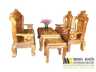 Salon gỗ hương cao cấp vân tay 12 chạm nghê | Nội Thất Minh Khôi