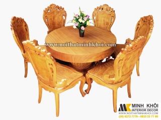 Bộ bàn ăn gỗ Gõ Đỏ cao cao cấp 6 ghế Louis