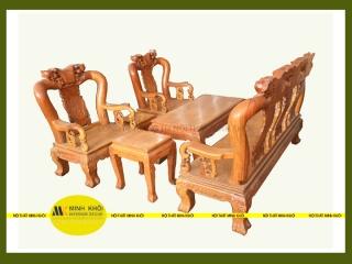 Bộ salon gỗ gõ đỏ chạm đào tay 10 6 món