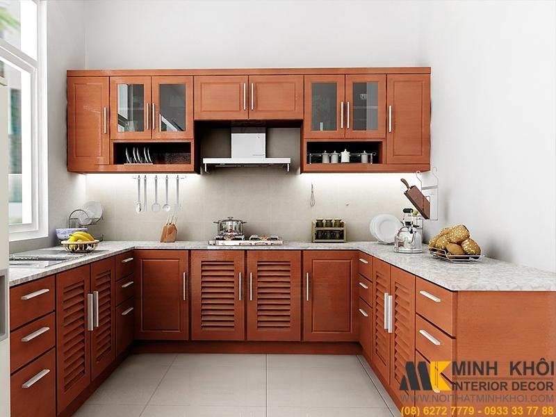 Tủ Bếp Gỗ Xoan Đào TB2008 Chử U Màu Gỗ Đẹp