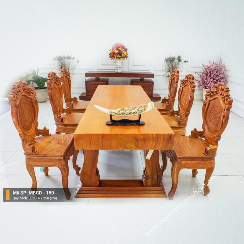 Bộ bàn ăn 6 ghế gỗ nguyên tấm