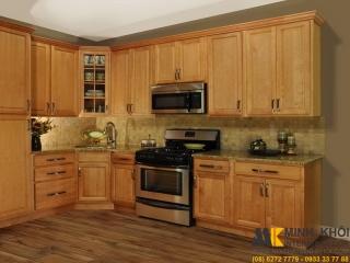 Tủ Bếp Gỗ Sồi TB2222 Màu Vàng Có Vòi Sen Cực Đẹp