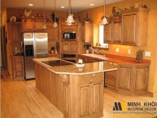 Tủ Bếp Gỗ Sồi TB2229 Màu Vàng Góc Chử L