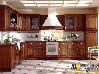 Tủ Bếp Gỗ Căm Xe TB2403 Chử L Đẹp