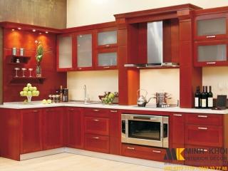 Tủ Bếp Màu Đỏ Chử L Có Quấy Bar Gỗ Căm Xe TB2416