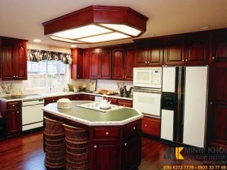 Tủ Bếp Gỗ Căm Xe TB2422 Màu Đỏ Đẹp