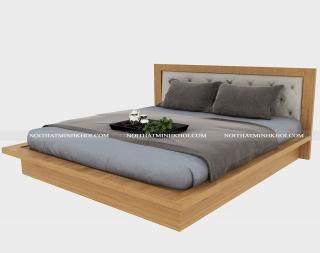 Giường Ngủ Hiện Đại Gỗ MDF Sồi Đầu Bọc Nệm - Giá Rẻ