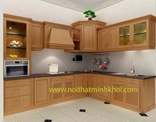 Tủ bếp gỗ sồi tự nhiên cao cấp  màu vàng nắng chứ L | Nội Thất Minh Khôi