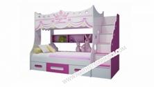 Giường Tầng Trẻ Em Cao Cấp Màu Hồng Vương Miện FCH135N