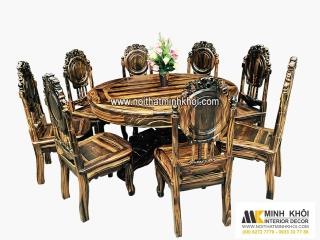 Bộ Bàn ăn gỗ mun bàn tròn 8 ghế giảm giá 35%