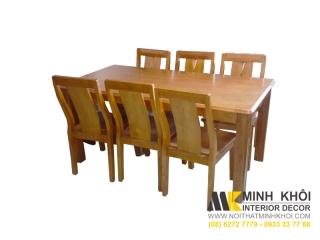 Bộ bàn ăn gỗ hình chữ nhật xoan đào hiện đại 6 ghế đơn giản