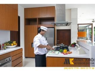 Tủ Kệ Bếp Gia Đình KB1235 Mặt Đá Trắng Màu Vàng