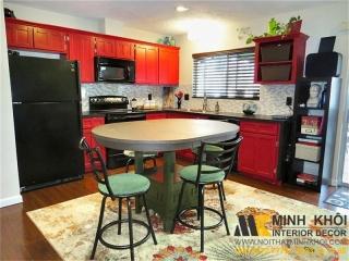 Tủ Kệ Bếp Gia Đình Màu Đỏ Đẹp Có Tủ Đông KB1277