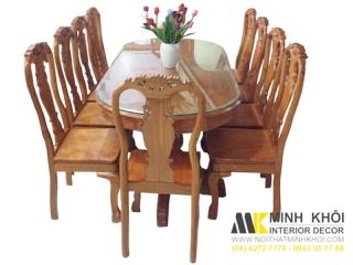 Bộ bàn ăn gỗ tự nhiên cao cấp 10 ghế dành cho nhà rộng
