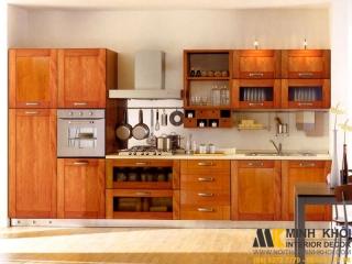 Tủ Bếp Gỗ Xoan Đào TB2018 Màu Vàng Đẹp Tuyệt Vời