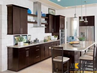 Tủ Bếp Gỗ Xoan Đào Chữ I Màu Đen