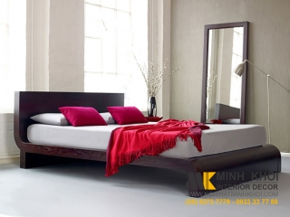 Giường ngủ đuôi cong xoan đào màu nâu giá rẻ