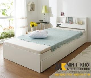 Giường ngủ gỗ MDF sơn trắng có hộc kéo chống trầy chống bám bụi