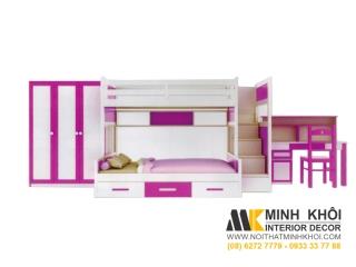 Bộ Phòng Ngủ Màu Hồng Cho Bé Gái BPN023 | Nội Thất Minh Khôi