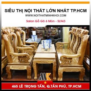 Bàn Ghế Phòng Khách Gỗ Gõ 6 Món - SL943