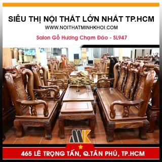 Bàn Ghế Phòng Khách Gỗ Hương Tay 10 - SL947