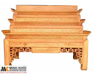 Bàn Thờ Gỗ Gõ Đỏ 3 Tầng Chạm Hoa Sen  BT2005