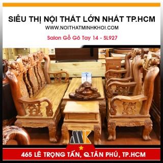 Bộ Bàn Ghế Phòng Khách Gỗ Gõ Đỏ Tay 14 Chạm Đào - SL927