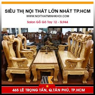 Bộ Bàn Ghế Phòng Khách Gỗ Gõ Tay 12 - SL944