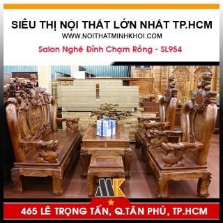 Bộ Bàn Ghế Phòng Khách Gỗ Hương Đá Nghê Đỉnh - SL954