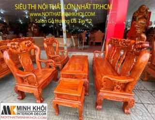 Bộ Bàn Ghế Salon Gỗ Hương Đá Chạm Đào Tay 12 (6 Món) - SL957