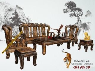 Bộ Bàn Ghế Salon Phòng Khách Gỗ Mun Tay 14/6 Món Cao Cấp - SL903