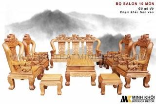 Bộ Salon Gỗ Gõ Đỏ 10 Món Chạm Khắc Tinh Xảo - SL900