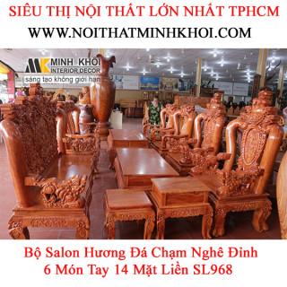 Bộ Salon Hương Đá Chạm Nghê Đỉnh 6 Món Tay 14 Mặt Liền SL968