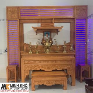 Bộ Sập Thờ & Bàn Thờ Phật & 2 Đôn Gõ Đỏ Cao Cấp - ST2002