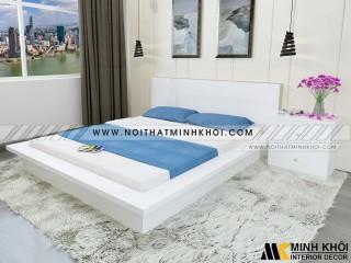 Giường Ngủ Giá Rẻ Màu Trắng Gỗ Công Nghiệp MDF - GN914
