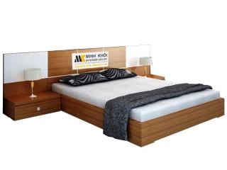 Giường ngủ gỗ công nghiệp MFC giá rẻ màu sồi