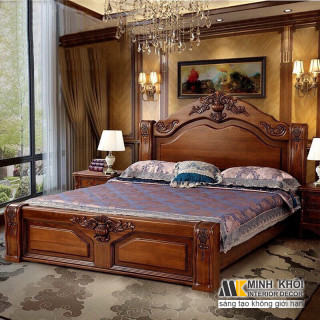 Giường ngủ gỗ tự nhiên mun đen giá rẻ