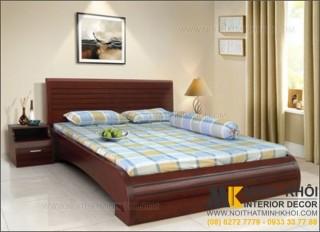 Giường Ngủ Gỗ Xoan Đào Đẹp Thiết Kế Đuôi Cong