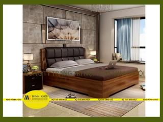 Giường ngủ bọc nệm 1m6 gỗ xoan đào tự nhiên màu nâu quận Tân Phú