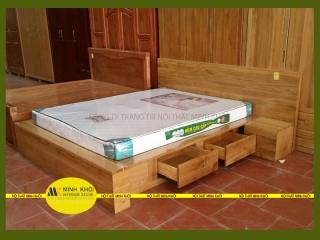 Giường ngủ kiểu Nhật có hộc kéo gỗ sồi tự nhiên