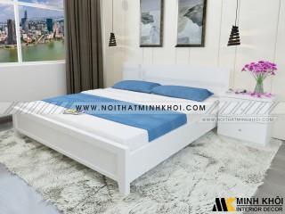 Giường Ngủ Màu Trắng Đẹp Giá Rẻ Chất Liệu MDF - GN912