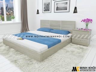 Giường Ngủ Vân Gỗ Sồi Màu Xám Đẹp Giá Rẻ - GN907