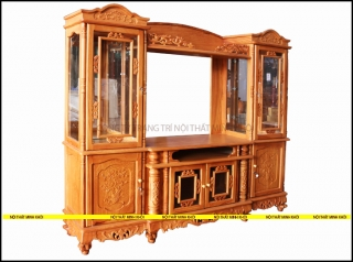 Kệ tivi gỗ gõ đỏ kết hợp tủ rượu phòng khách