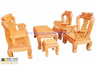 Salon gỗ gõ đỏ chạm đào tay rồng 12 6 món đẹp