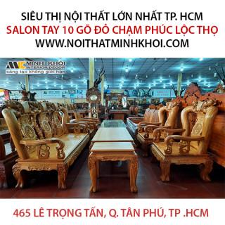 Salon Tay 10 Gõ Đỏ Chạm mặt liền Phúc Lộc Thọ - SL962