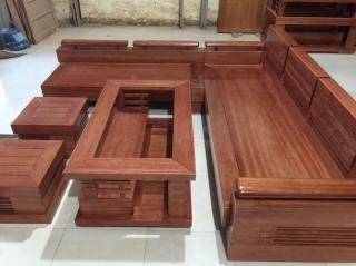 Sofa góc gỗ còng hiện đại 5 món cho phòng khách