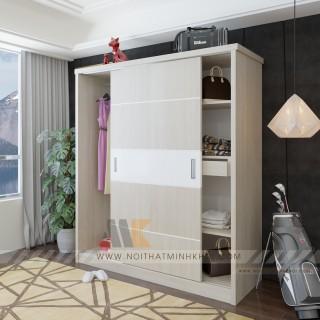 Tủ Quần Áo Cửa Lùa Màu Kem Thiết Kế Đẹp - TA662