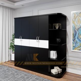 Tủ Quần Áo Giá Rẻ Thiết Kế Đẹp Màu Đen - TA603